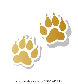 Animal Tracks sign. Vector. Golden gradient icon with white contour and rotated gray shadow at white background.