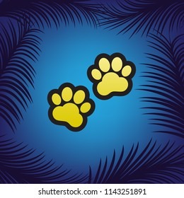 Animal Tracks sign. Vector. Golden icon with black contour at blue background with branches of palm trees.