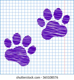 Animal Tracks. Vector illustration with pen and school paper effect