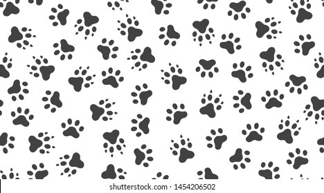 Animal tracks vector seamless pattern with flat icons. Black white color pet paw texture. Dog, cat footprint background, abstract foot print silhouette wallpaper for veterinary clinic.