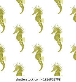 Animal underwater seamless pattern with green seahorse isolated print. White background. Cartoon print. Perfect for fabric design, textile print, wrapping, cover. Vector illustration.