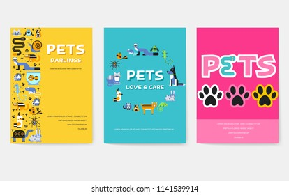 Animal vector brochure cards set. Home pets template of flyear, magazines, posters, book cover, banners. Wildlife invitation concept  background. Layout domestic illustrations modern