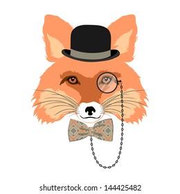 animal vector portrait, fox in bowler hat and monocle, vintage style portrait