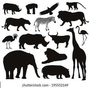 Animal vectors. Collection of silhouettes