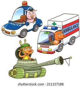 animal vehicle Occupation cartoon. EPS10 File  simple Gradients