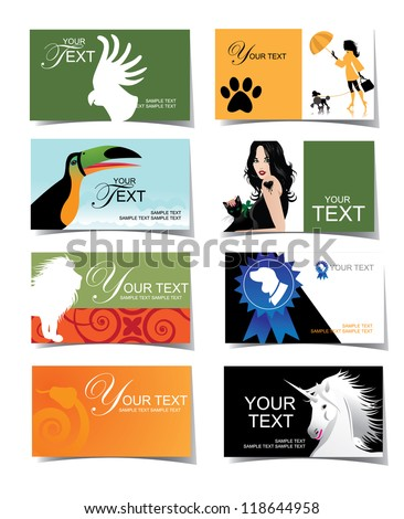 Animal Veterinary Business Card Icon Set Stock Vector Royalty Free