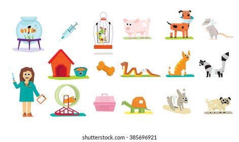 Animal Veterinary Care Flat Icons Isolated Vector Illustration