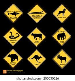 Animal warning sing vector symbol design