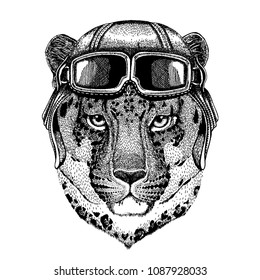 Animal wearing aviator helmet with glasses. Vector picture. Wild cat Leopard Cat-o'-mountain Panther Hand drawn picture for tattoo, emblem, badge, logo, patch, t-shirt