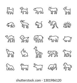 Animal, wild, zoo icon set. Editable vector stroke 64x64 Pixel.