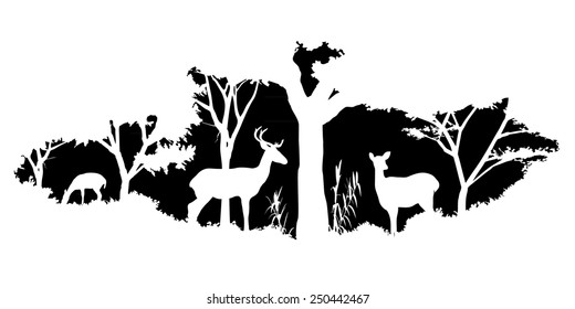 Forest Deer Silhouette Images Stock Photos Vectors Shutterstock