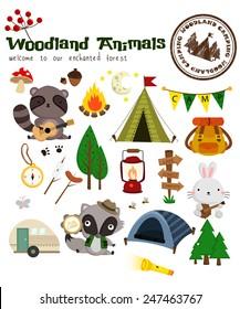 Animal Woodland Camping Vector Set