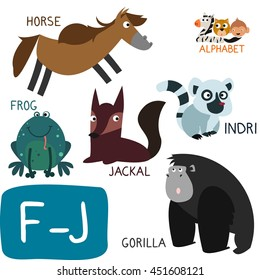 Animal Zoo Alphabet. Letter F-J. Frog, Gorilla, Horse, Indri and Jackal. Fun teaching aids for Kids