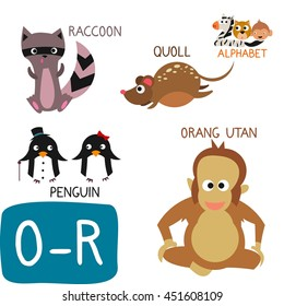 Animal Zoo Alphabet. Letter O-R. Orang Utan, Penguin, Quoll and Raccoon. Fun teaching aids for Kids