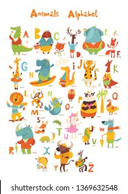 Animals ABC. Full Animals alphabet. Set of funny hand drawn wild animals. Great for your design ideas, cards, posters and kids room decoration.