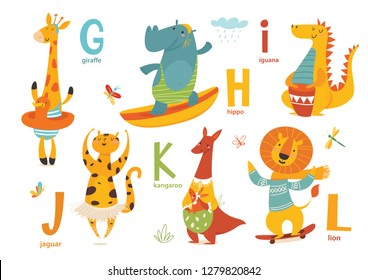 Animals ABC. Part 2 of full Animals alphabet. Set of funny hand drawn wild animals. Great for your design ideas, cards, posters and kids room decoration.