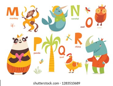 Animals ABC. Part 3 of full Animals alphabet. Set of funny hand drawn wild animals. Great for your design ideas, cards, posters and kids room decoration.