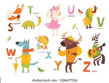 Animals ABC. Part 4 of full Animals alphabet. Set of funny hand drawn wild animals. Great for your design ideas, cards, posters and kids room decoration.