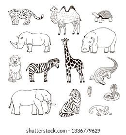 Animals of Africa illustrations hand drawn line set