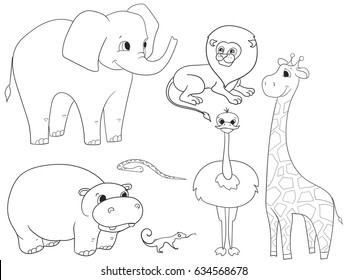Animals Of Africa Object Coloring Book For Adults Vector Illustration Adult Giraffe Lion