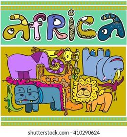 Animals of Africa. Vector page, background, image.  Lion, elephant, snake, monkey, hippo, rhino, bird, giraffe. Happy and children.