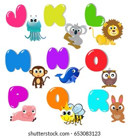 animals alphabet set for kids abc education in school.