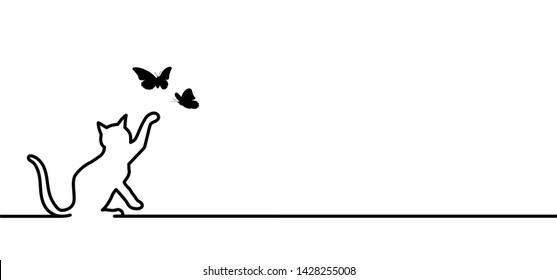 Animals Animal Cat puss Pussy Kitty line drawn pattern Vector Fun funny icon icons sign signs I love cats Meow Mowing sleep sleeps sleeping cat Happy kitten day kittens Butterflies butterfly BBC