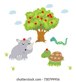 animals at the apple tree. vector cartoon illustration