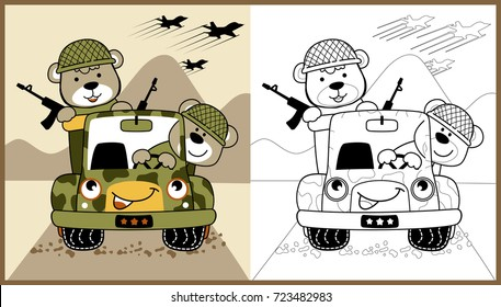 animals army on military truck, vector cartoon illustration, coloring book or page