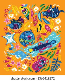 Animals Of Australia collection in unique trendy style. Koala, wombat, kangaroo, Tasmanian devil and other native animals isolated on orange background. Vector illustration