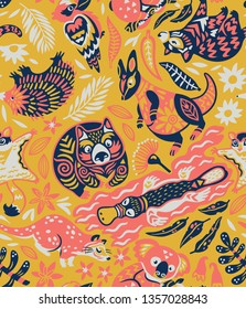 Animals Of Australia seamless pattern. Koala, wombat, kangaroo, Tasmanian devil and other native animals. Yellow, pink, coral limited color palette. Vector illustration