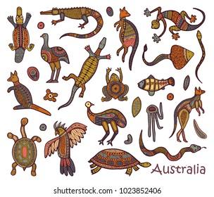 Animals Of Australia. Sketches in the style of Australian aborigines