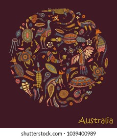 Animals Of Australia. Sketches in the style of Australian aborigines