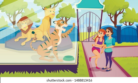 Animals in Aviary. Vector illustration. Excursion to Zoo. Sunny Day. People and Animals in Captivity. Aviary with Tigers and Lions. Snarling Animals. Tiger in Glass Cage and Scared Women in Zoo.