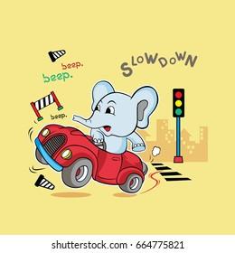 animals baby elephant car illustration