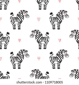 Animals Background for Kids. Vector Seamless Pattern with doodle Cute Zebra and Hearts. Children's wallpaper.