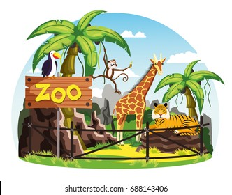 Animals behind fence and zoo sign. Giraffe and monkey or chimpanzee, tiger and toucan bird scenery with trees and bushes, rocks. Savannah animal and wildlife or nature landscape theme