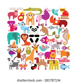 Animals, birds and fishes - square shape vector illustration. Various colorful icons on white background.