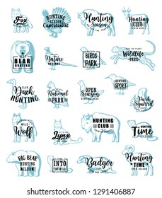 Animals or birds, hunting icons with lettering. Vector grouse and woodcock, pheasant and quail, partridge and badger, cheetah and wolf, gazelle and fox, sable and mink, bear and fox or lynx, wildlife