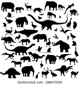 Animals and birds silhouettes for design over white background