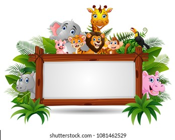Animals with a blank sign wood