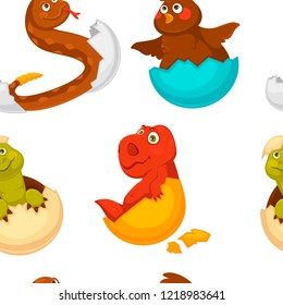 Animals born from eggs, eggshells and reptiles seamless pattern vector.