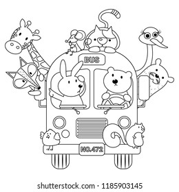 Animals in bus vector illustration cartoon colorless. School bus cartoon. Cute animal in school bus. Coloring book.