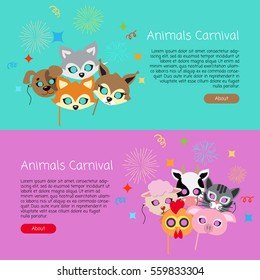 Animals carnival collection of masks for kids. Masks of dog with fox near hare and sheep. Domestic cat with chicken with cow and pig on colourful background. Cartoon style vector web banners in flat
