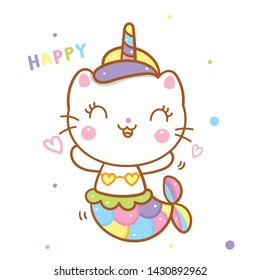 Animals cartoon cat mermaid in unicorn vector kawaii style with pastel color (illustrator): Nursery decoration, Fairly tales character- card, inspiration poster and Print for t-shirt. Romantic hand