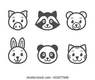 Animals cartoon character set. Animals icon set.
