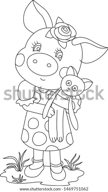 Animals Cartoon Cute Pig Coloring Page Stock Vector Royalty Free 1469751062