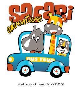 Animals cartoon vacation with mini bus, vector cartoon illustration