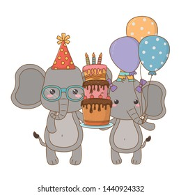 Animals cartoons with happy birthday cake design