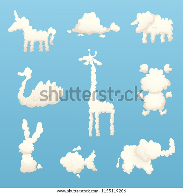 Animals Clouds Various Shapes Cartoon Clouds Stock Vector (Royalty